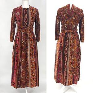 Vintage Jelogs Milbourn bohemian damask dress